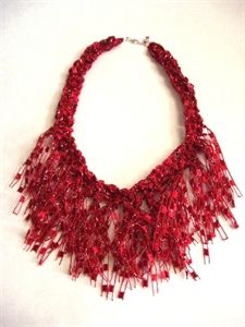 Picture of Crocheted Trellis Yarn Fringe Necklace Pattern - Emailed