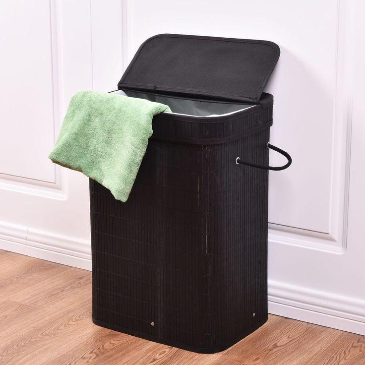 Costway Rect Bamboo Hamper Laundry Basket Washing Cloth Storage Bin Bag W/Folding Lid Black