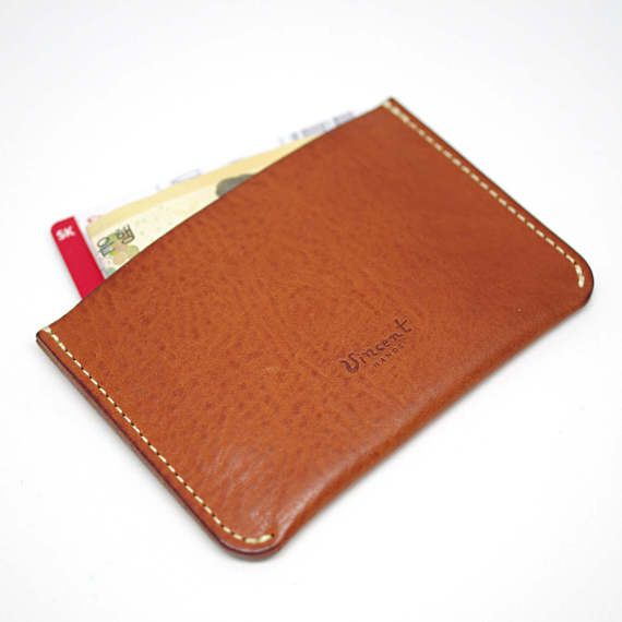 handmade leather open type half slim wallet two by VincentHands
