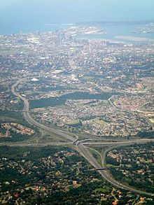 Durban - view of the N3 into central Durban with the N3/N2 Spaghetti junction in foreground