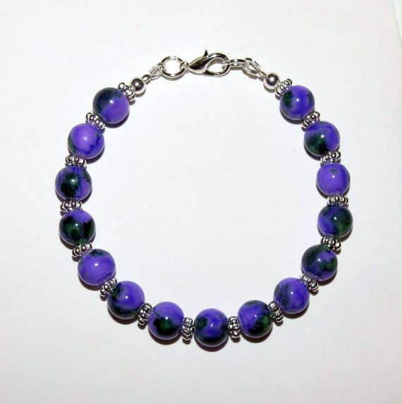 Purple/Black Mottled Glass bead bracelet by PawInspiredCreations