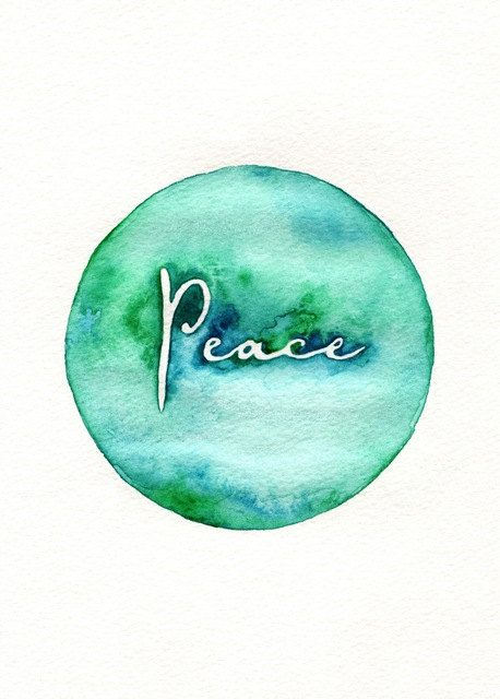 Peace on Earth / watercolor print / teal / light green / aqua /. $20.00, via Etsy.