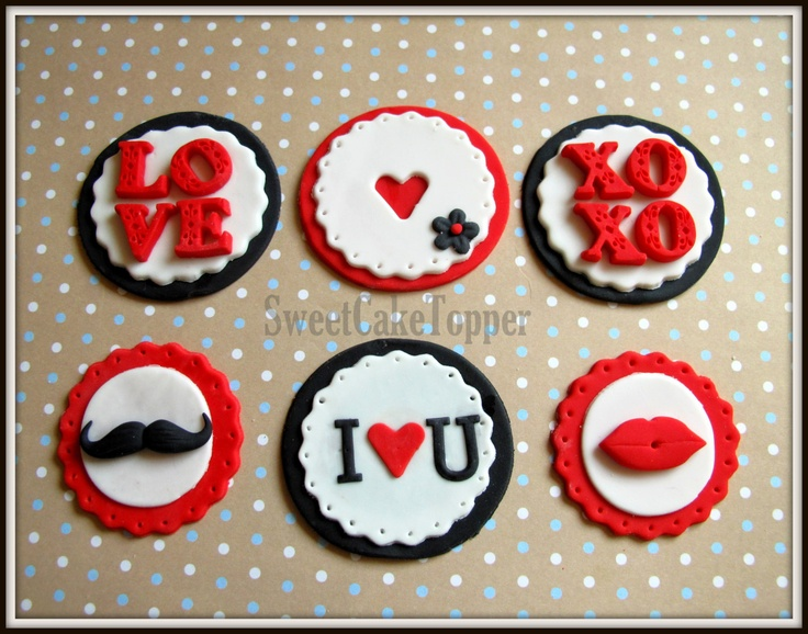 Valentine Fondant Toppers