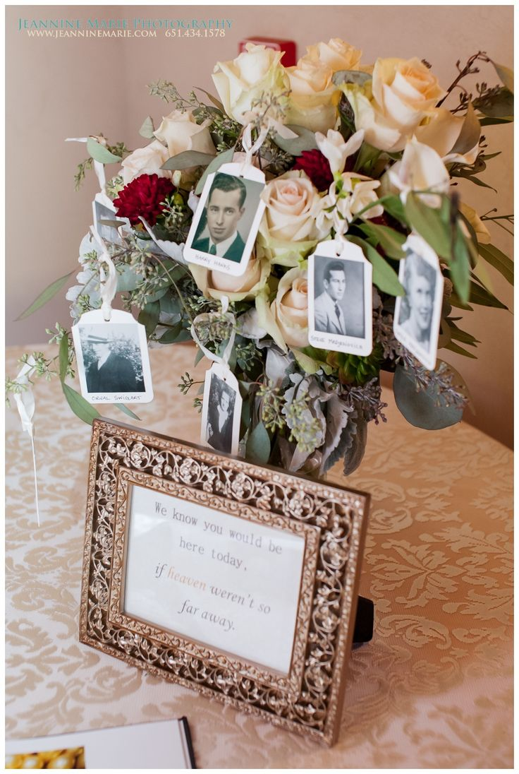 Idea for memorial at wedding reception. Beautiful bouquet by Something Blue…