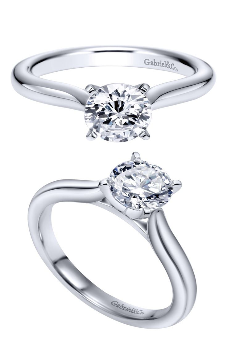 Gabriel & Co. - Simplicity at its finest with this 14k White Gold Contemporary Solitaire Engagement Ring.