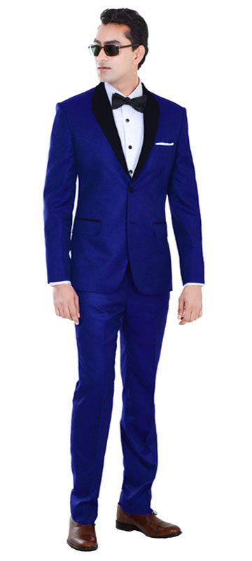 This tuxedo is a flamboyant take on the traditional royal blue tuxedo. This is styled to make sure you stand out and look dashing. This is a stunning tuxedo for any occasion.   Super 100s Pure Australian Merino Wool All Season Wear  Perfect for Weddings/ Dinners.  Combine with a Tuxedo Shirt with black buttons.