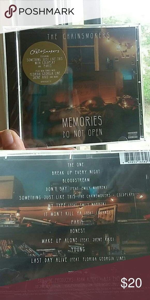 New The Chainsmokers CD in plastic still! Still brand new in its plastic.  Songs:  1. The One  2. Break Up Every Night 3. Bloodstream 4. Don't Say  (feat. Emily Warren) 5. Something just Like This (feat. Coldplay) 6. My Type (feat. Emily Warren) 7. It Won't Kill Ya (feat. Louane) 8. Paris 9. Honest 10. Wake Up Alone (Feat. Jhene Aiko) 11. Young  12. Last Day Alive (Feat. Florida Georgia Line) Other