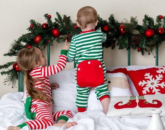 2020 Christmas Pj Blanks Christmas Long John Pajamas: Baby Christmas Pajamas, Embroidery