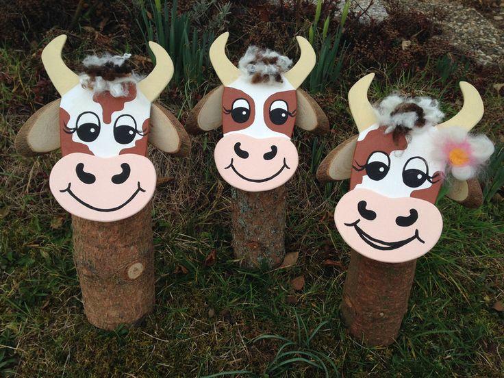 Gartenfiguren - Baumstamm-Kuh Karla - Jede Kuh ein Unikat - ein Designerstück von Topolino-ART bei DaWanda