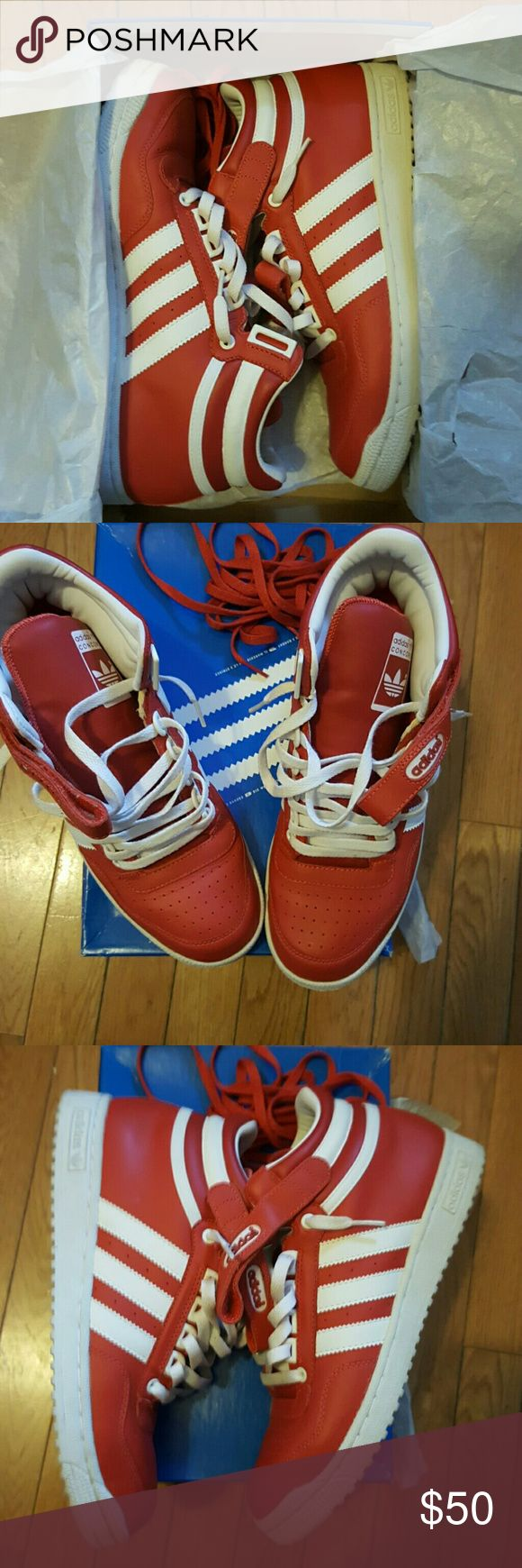 ADIDAS CONCORD MID SNEAKERS White on Red (Men's 9.5) lightly worn, LIKE NEW!! Red strings and box included.  Originals Adidas Shoes
