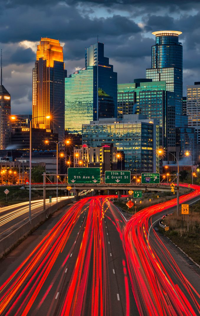 Minneapolis Minnesota downtown skyline; I'd love to visit Minnesota, it's where my parents started their live together :)