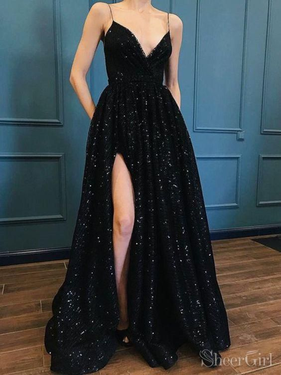 Back Details Zipper 9.Fully Lined Yes 10.Buit-In Bra Yes 11.Boning Yes  12.Picture Color Black. Black shiny sequin long prom dress ... 3f0ba8fb1
