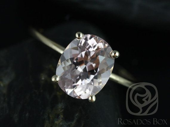 Dani 10x8mm 14kt Yellow Gold Thin Oval Morganite by RosadosBox