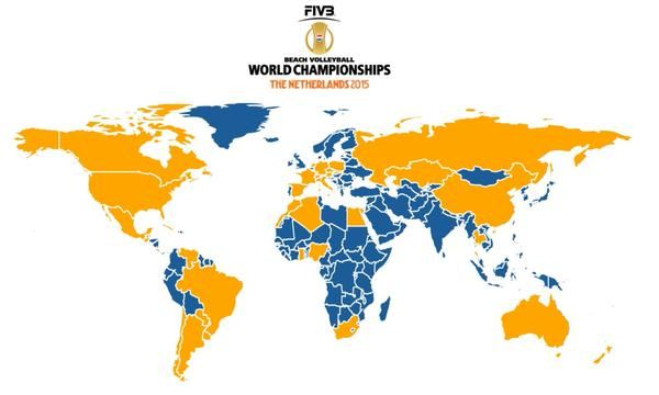 Over 50 countries are participating at the FIVB Beach Volleyball World Championship in the Netherlands. Here the impressive map. This is Beach Volleyball!