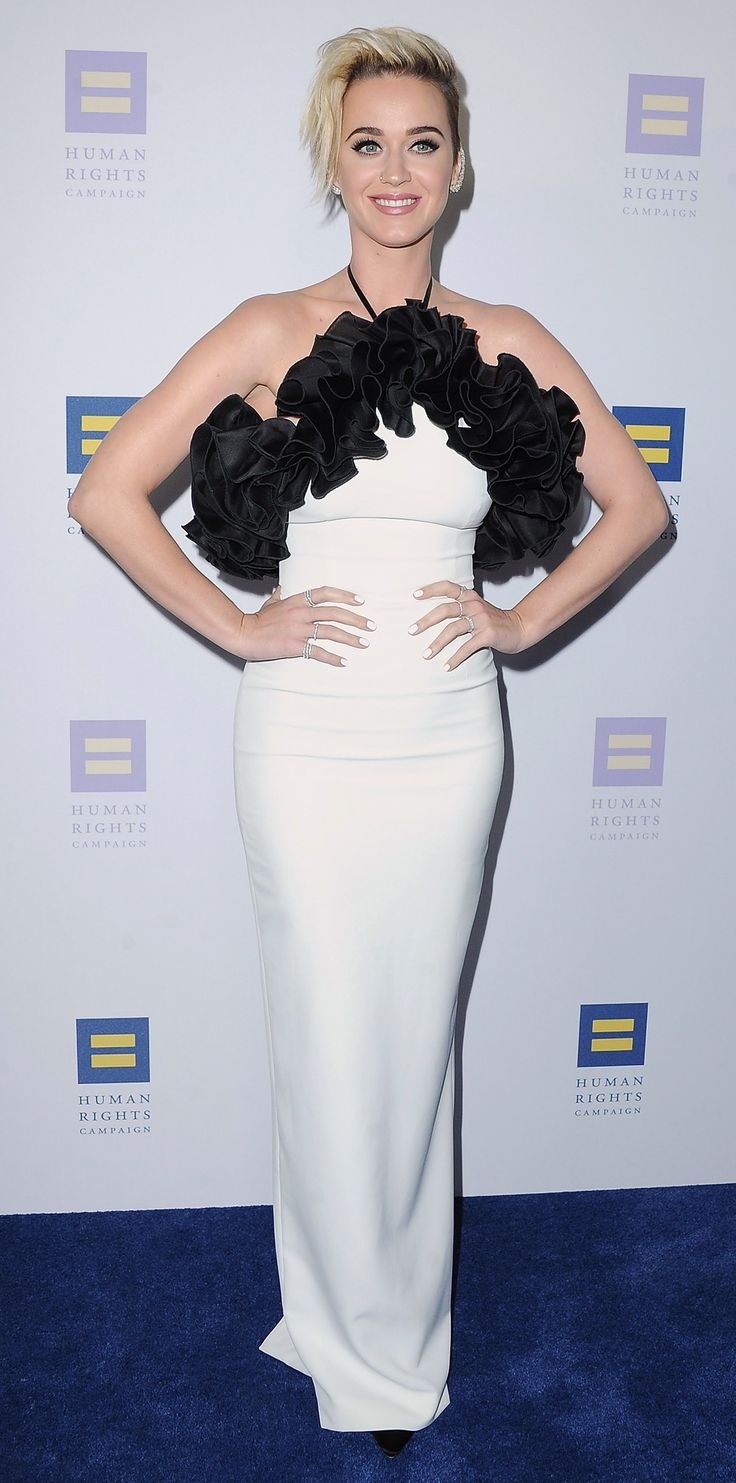 Katy Perry stunned at the Human Rights Campaign's 2017 Gala Dinner in a standout Rasario gown with grand ruffle detailing and a streamlined silhouette.