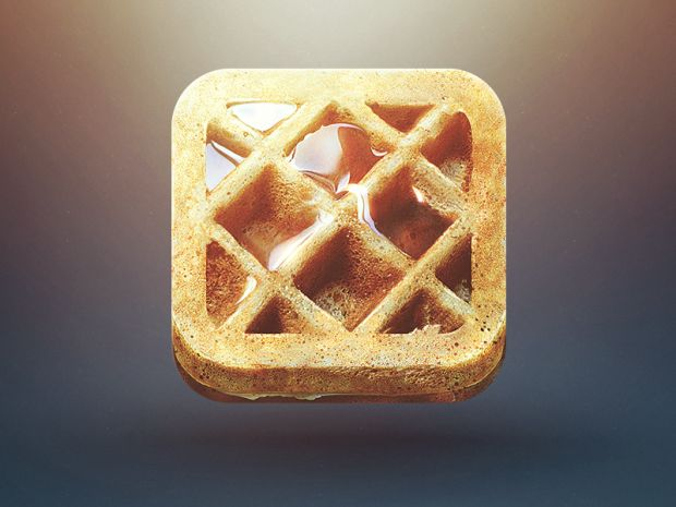 Now, this is just a wonderful icon. It's recognizable on sight: waffles. Still, for my purposes, I should note that this seems to be a product of photo manipulation rather than realistic illustration.