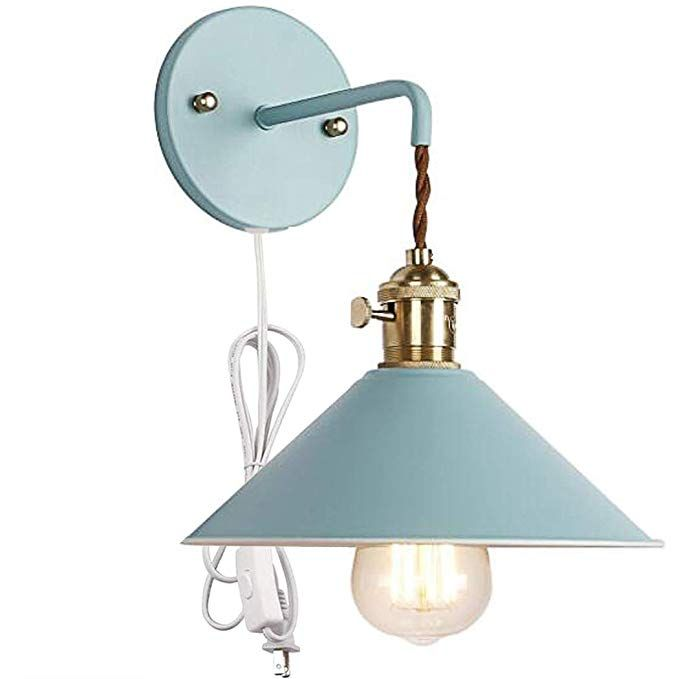 Kiven Nordic Wall Sconce One Cable Mains Plug And On Off Switch Blue Macaron Bedside Reading Light Copper Lamps Lamp Socket Bathroom Vanity Lighting