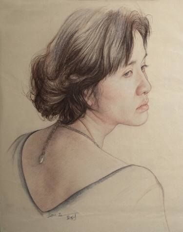 "Saatchi Art Artist William Wu; Drawing, ""Portrait of woman with necklace"" #art"