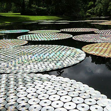 Waterlilies made of old CDs!
