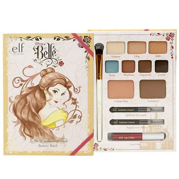 Disney's Belle Beauty Book e.l.f. Disney Belle An Enchanted Tale Beauty Book  All brand new items   Reflect your Inner Pretty PrincessAll-in-One BookCreate Your Favorite Disney Look  Disney Belle An Enchanted Tale Beauty Book Includes:  Eyeshadow Brush (1 each)Eyeshadow Colors (0.317 oz / 9.0 g)Blush (0.198 oz / 5.6 g)Bronzer (0.198 oz / 5.6 g)Eyeliner Pencils (2 x 0.018 oz / 0.5 g)Lip Color (0.03 oz / 1.0 g) ELF Makeup Eyeshadow