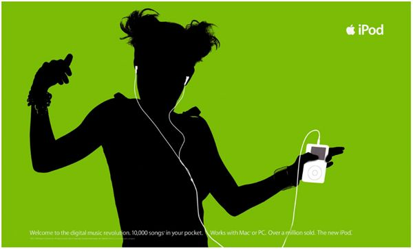Contrast: This picture shows the silhouette of a girl and the white iPod in her hands against a green background. This shows contrast as there is a vast difference in the choice of colours, which ultimately forms the image to easily distinguish both the girl and the iPod.