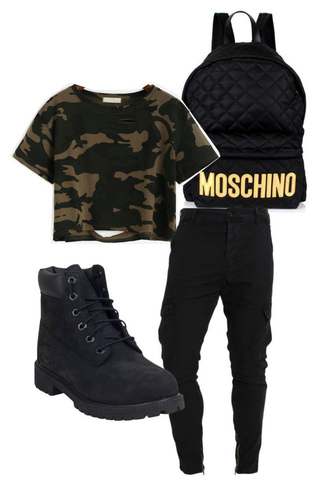 """""""clearly feeling camo"""" by stuckupslimm on Polyvore featuring Moschino, WithChic, Le Temps Des Cerises and Timberland"""