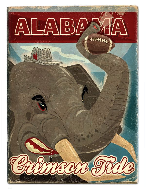 VIntage SEC football posters by Thomas Burns, via Behance. Alabama Crimson Tide poster. Beautiful stuff!