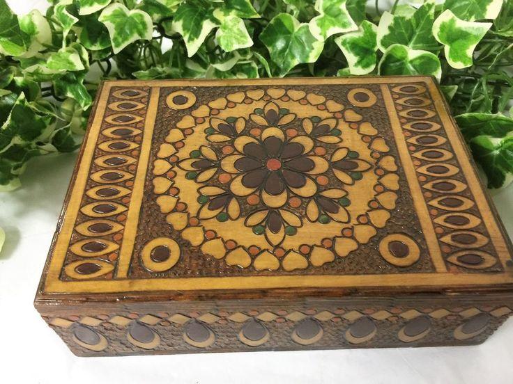 Beautiful Vintage Hand Crafted Wooden Floral & Hearts Mandala Cigar/Trinket Box