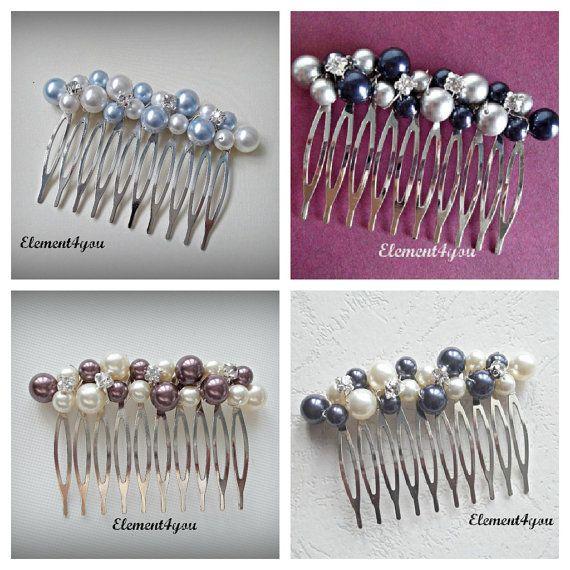 Nupcial peine, peine del pelo de la boda, fascinator de diamantes de imitación perla, azul marino gris mezcla perla, accesorios de Dama de honor, peine de plata con cuentas de perlas