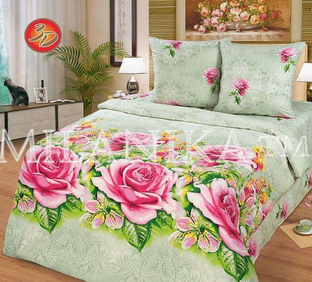 Купить светло-зеленое постельное белье с розовыми розами недорого