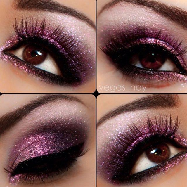 Lush Purple Eyes: Colors Combos, Eye Makeup, Brown Eye, Purple Glitter, Parties Makeup, Eyemakeup, Dark Purple, Dark Shadows, Prom Makeup