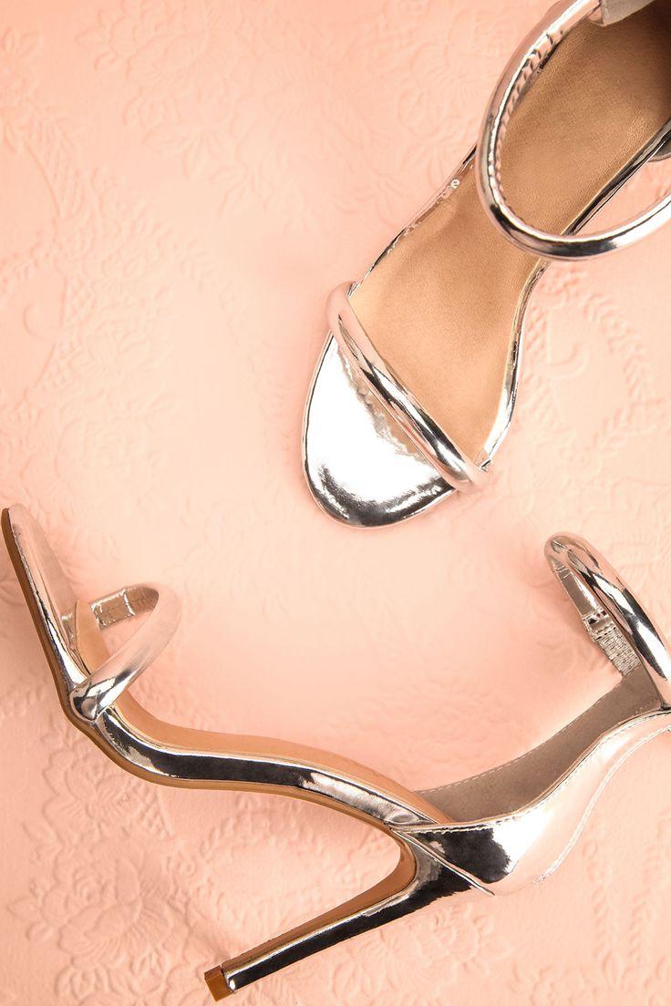 Oruro Argenté - Silver strappy high heels  www.1861.ca