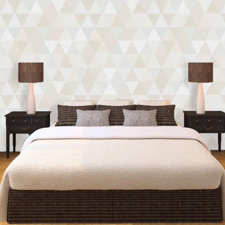 Papel de parede geométrico triângulos bege, marrom, verde água e cinza 053