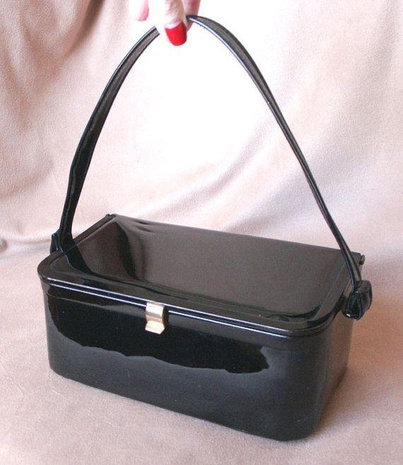 Vintage 60's 50's Handbag, Black Patent Box Bag, Mad Men, Rockabilly, VLV #rockabilly #pinup