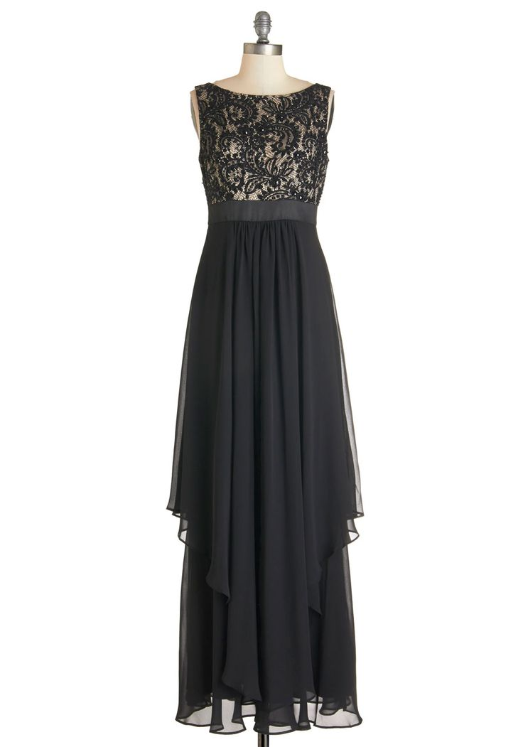Double Feature Presentation Dress. Present yourself at the moviepremiere in the award-worthy style of this elegant black maxi dress. #black #wedding #bridesmaid #modcloth