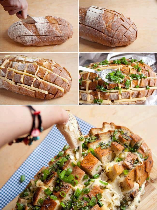 Pão italiano, cebolinha, queijo e orégano