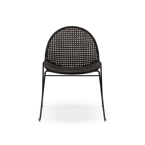 This Reef Chair, designed by Danish creative Jakob Berg for Feelgood Designs, features a sleek powder coated black sled base frame with a comfortable woven seat. Available in natural or espresso, the gentle angle of the seat provides a laid back, relaxed air. This chair is stackable.