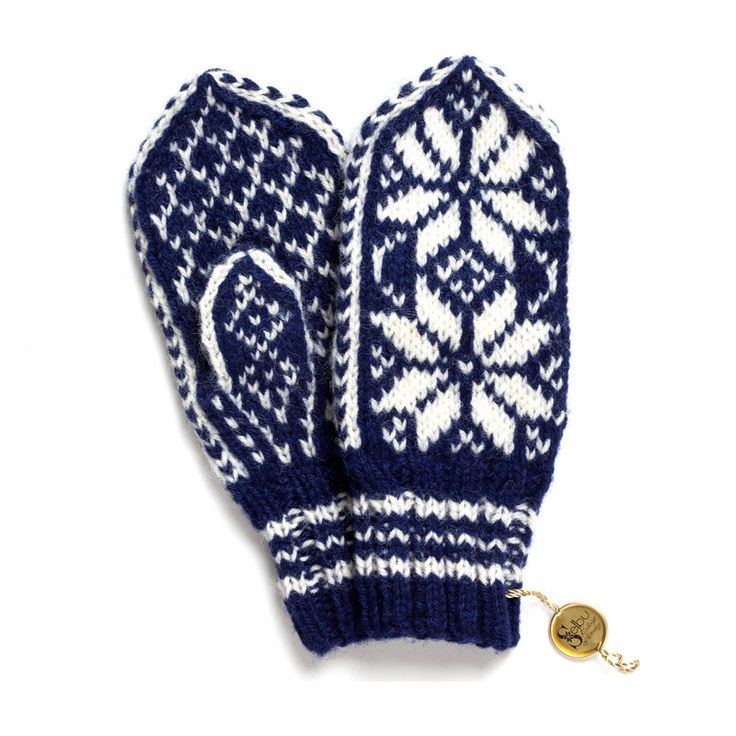 norwegian children's <br/>mittens blue and white from hedgehogshop