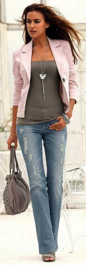 Laura Scott for Otto Group, Irina Shaik: Distressed jeans, soft pink blazer, grey top, handbag & sandals.... - Street Fashion