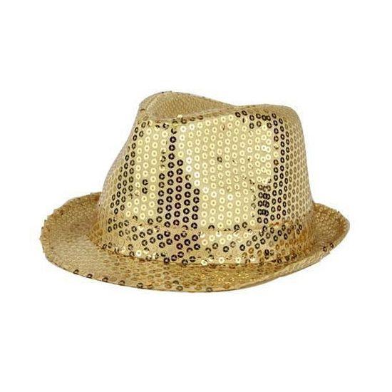 Deze gouden hoed met pailletten laat u overal opvallen! Deze gouden hoed met pailletten maakt uw feestoutfit helemaal compleet! De hoed is goud van kleur en bedekt met gouden pailletten. De hoed is one size, ongeveer maat 57.