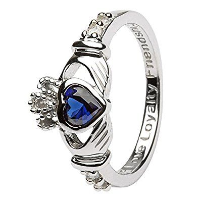Birth Month (September) Silver Claddagh Ring - Made in Ireland