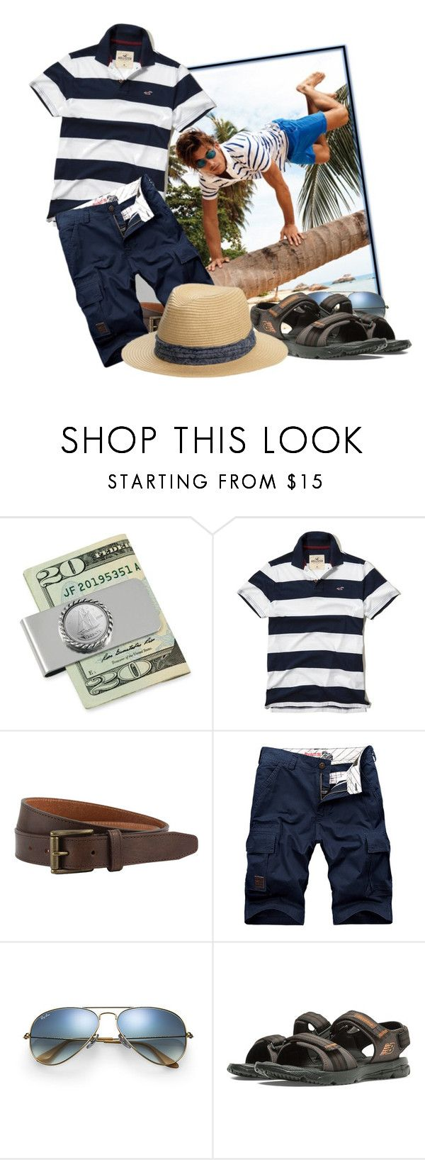 """""""Hollister Stripe Jersey Polo"""" by tasha1973 ❤ liked on Polyvore featuring Hollister Co., The British Belt Company, Ray-Ban, New Balance, San Diego Hat Co., men's fashion and menswear"""