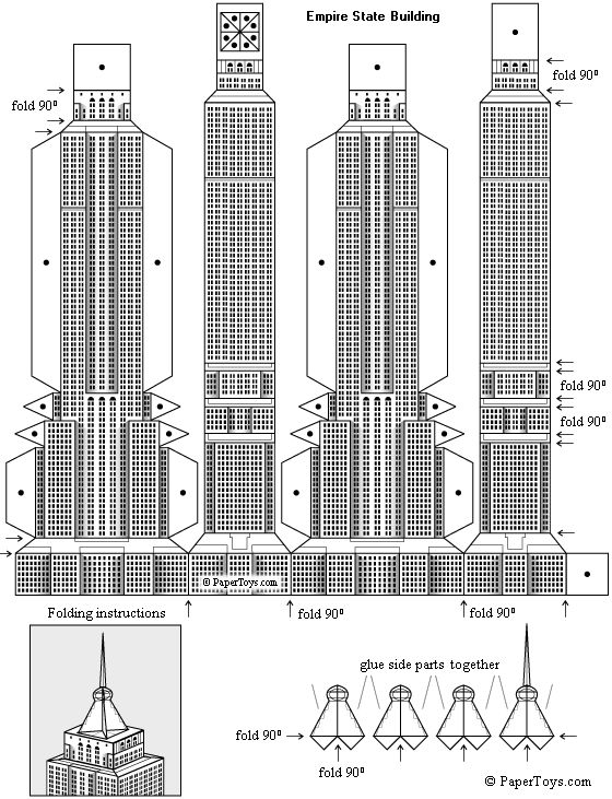 Empire State Building Paper Model - FREE Paper Toys and Models at PaperToys.com