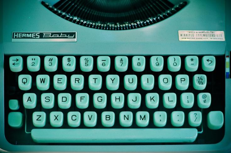 Turquoise typewriter.