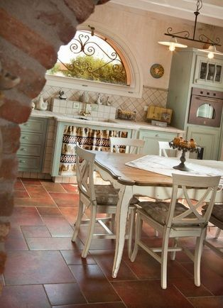Image via  Provence-Styled Kitchens   Image via  Home inspiration from France - love the big mirror situation under the stairs   Provence-Styled Kitchens   Image via  someone making terr