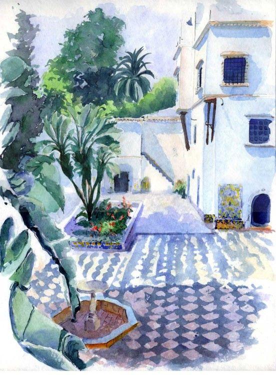 Alger - Palais du Bardo, patio - Peinture ©2005 par Catherine Rossi -