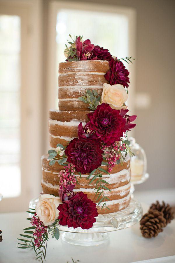 Rustic Naked Cake with Burgundy Dahlias   Ashley Cook Photography   Jewel Toned Autumn Woodland Wedding Shoot