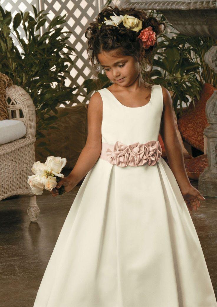 A-line Scoop Floor-length Satin Flower Girl Dresses