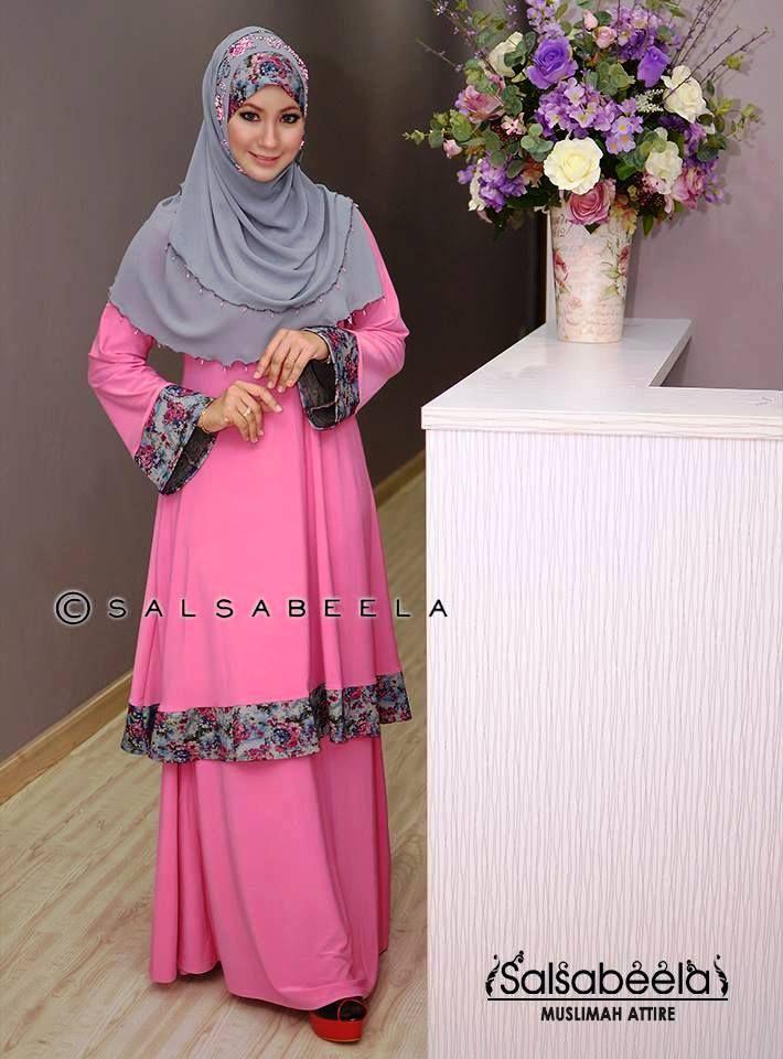Muslimah Pink Floral Baju Kurung Pahang
