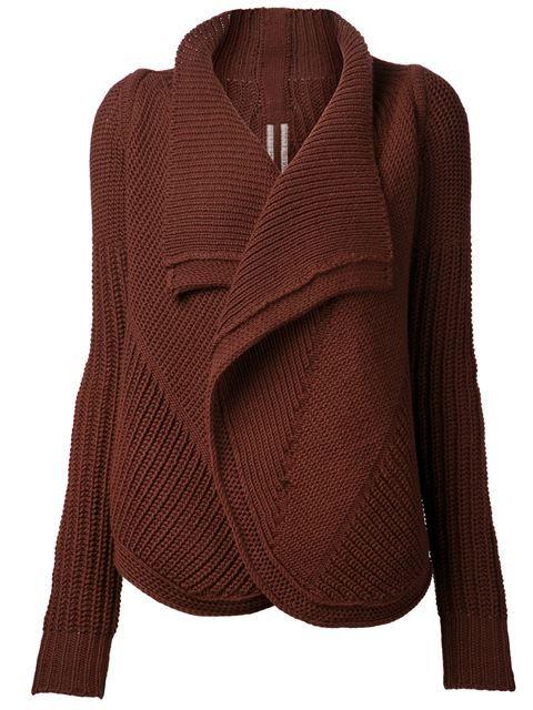 RICK OWENS Ribbed Chunky Knit Cardigan